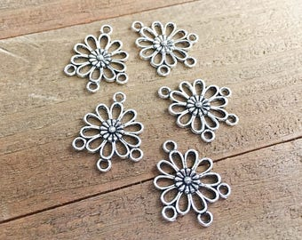 10 Flower Connectors, Jewelry Connectors, Earring Findings, Silver Links, 23mm, SP091