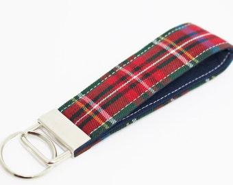 Plaid Key Fob in Wristlet or Mini Length