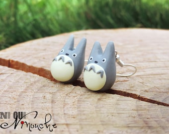 Totoro earrings grey cute (fimo) HANDMADE clay geek manga Miyazaki Ghibli chibi my neighbour totoro realistic earrings small girls gift