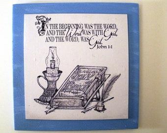 Verse Decor small John 1:1.  In the beginning was the word and the Word was with God, and the Word, was God.  Bible Christian Scripture Art