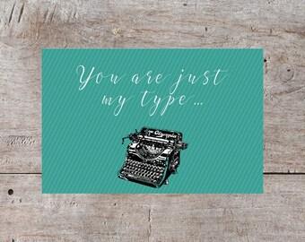 Love Card, Cute Valentine, Funny Valentines Day Card, Valentines Day Card, Hilarious Valentine, Typewriter Valentine, Vintage Card