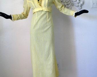 Vintage 1970s Gingham Maxi Dress Yellow Ruffled Prairie Couture Ruffle Neck Eyelet Lace Trim Hippie Festival Boho Attire Mr. Bob California