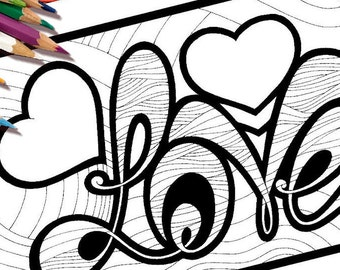 Love colouring page Etsy