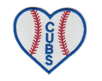 Chicago Cubs Patch Heart Patch Chicago Patch Cubs Fan Iron on Patch Baseball Patch