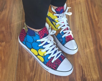 Custom Ankara Covered Sneakers 9.5 Women's