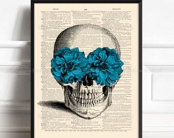 Skull Head Print, Gifts For Husband, Sugar Skull Poster, Mystery Wall Art, Geekery Skull Poster, Boyfriend Xmas Gift Skull Anatomy Print 282
