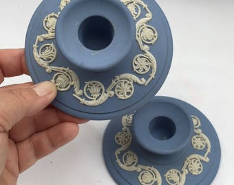 "Vintage pair of 70""s Wedgwood Jasperware Blue Candlestick Holders Grape and vine pattern. Blue Jasperware candle holders."
