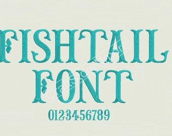 FishTail monogram Embroidery Font - 3 sizes Font Monogram - FishTail Monogram Fonts - FishTail Embroidery Font - Instant Download