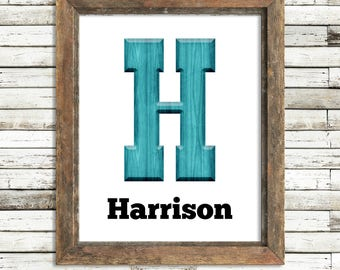 Baby boy nursery wall art woodlands nursery custom name print boy room decor rustic nursery personalized baby gift for baby modern nursery