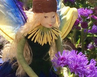 "Fae Folk® Fairies - LUNA - Garden Fairy. Bendable, posable 5"" soft doll can sit, stand, or hang."