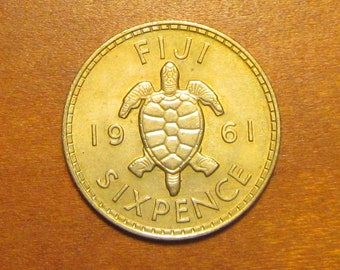 Fiji sixpence, 1961, Wedding 6 pence, world coin, six pence, something old, good luck nuptials gift, sea turtle, lucky