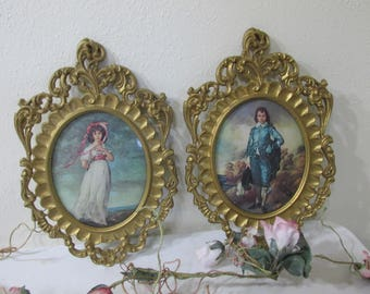 Pictures Pinkie and Blue Boy Vintage Oval Convex Bubble Glass in Frames from Italy