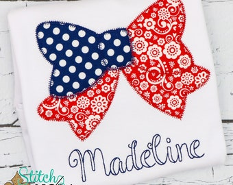 Patriotic Floral Bow Applique, American Flag, Patriotic  Applique, Red White and Blue Applique, America Applique, Memorial Day, Fourth of Ju
