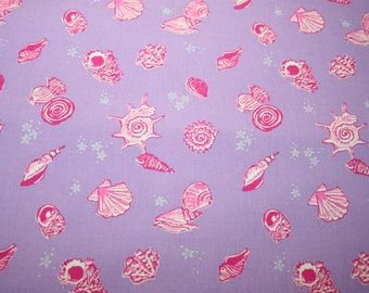 """Lilly Pulitzer fabric ~ SANIBEL SHELLS~ 18 """" by 18 """"~ 100% cotton"""