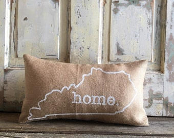 Pillow Cover | State Pillow | Home pillow | Burlap pillow | Gift for him | Gift for Her | Graduation, Wedding, Housewarming, Moving Gift