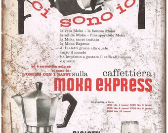 "Bialetti Moka Express Vintage Coffee Ad 10"" X 7"" Reproduction Metal Sign N114"