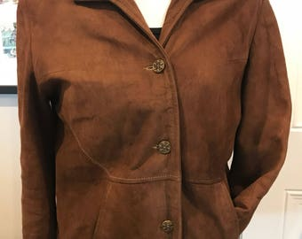Vintage Brown Suade Jacket with Gold Detail Buttons