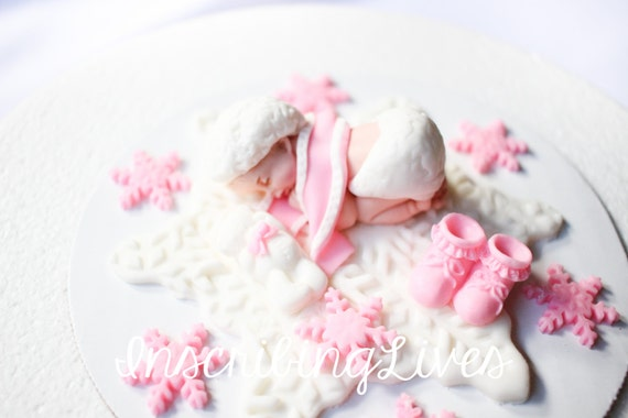 Snowflake Baby Shower Cake Topper Girl Frozen Pink Winter
