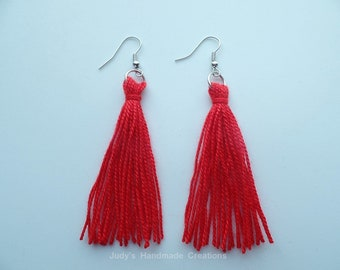 Red Tassel Earrings, Long Red Earrings, Tassel Earrings, Women Tassel jewelry, Fringe Tassel Earrings, Gift Under 10, Popular Earrings