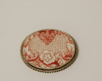 925 Sterling Silver Stamped Vintage Porcelain Art Brooch.