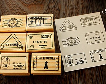 Vintage Wood Postmark Stamp Set - Rubber Stamp Set -Diary Stamp-TraveL Stamp- Deco Stamps-A