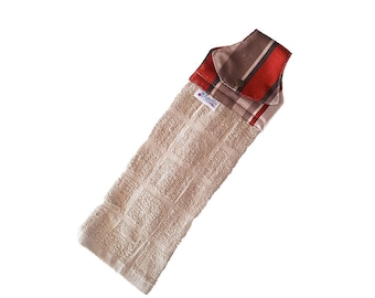 Brown, beige and red hand towel