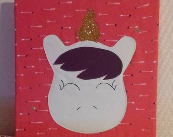Canvas with personalized Unicorn