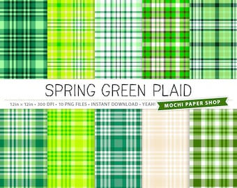 Green Plaid Digital Paper, Digital Plaid Pattern, Plaid Paper Download, Plaid Background, Plaid Green Tartan Scrapbook Plaid PNG Files