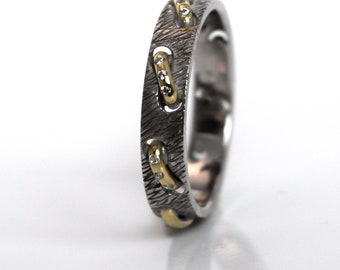 Wedding Band Set White and Yellow Gold, or Rose, Black Gold, Platinum, Handcrafted by an Award Winning Jeweler