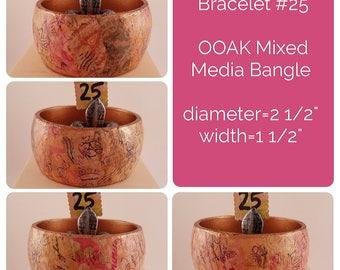 OOAK Art Bracelet #25 - Mixed Media Bangle
