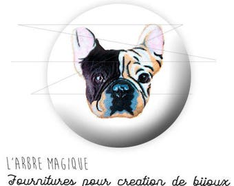 Cabochon 25 mm dog Pug ref 1585 fancy