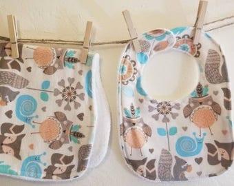 Flannel baby bib and burp cloth set