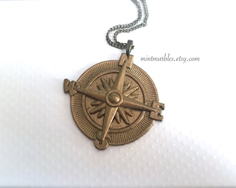 Vintage Style Compass Necklace. Large Pendant. Travel. Adventures. Brass. Antique Gold. Long Necklace Chain. Statement Necklace. Under 20