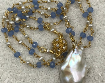 Delicate Handmade Blue Chalcedony and Pearl 24kt Gold Plate Rosary chain with Baroque Pearl Pendant, Magnetic Clasp