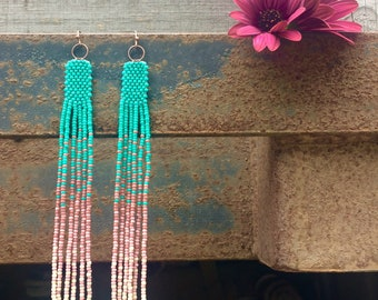 Turquoise and Rose - Long seed bead fringe earrings