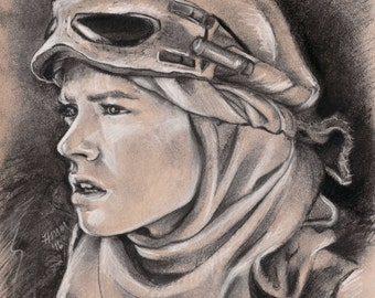 Rey - Star Wars: The Force Awakens - Daisy Ridley -Portrait - Art Print