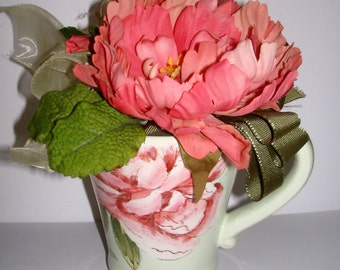 Floral Arrangement Pink Peonies Greenery Ribbon in Peony Mug Centerpiece Table Decor Peony Images Both Sides of Mug Gift For Her Woman Gift