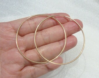 14K Gold Filled Endless Hoop, 50mm, 2 Inch Hoop, 1.25mm wire, EW-0083