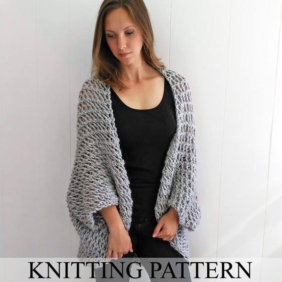 Easy Sweater PATTERN Shrug Pattern Beginner Sweater Knit