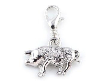 Rhinestone Pig Charm - Clip-On - Ready to Wear