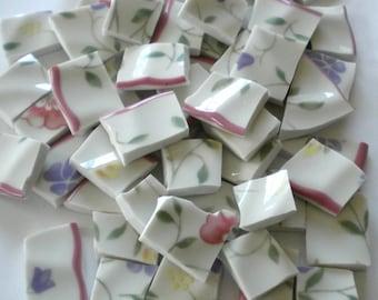 Broken China - Mosaic Tiles - Romantic Flower Garden - Set of 100