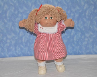 """Cabbage Patch Doll Christmas Clothes - Handmade for 16"""" - 18"""" Girl Dolls - Red and White Candy Striped Dress"""
