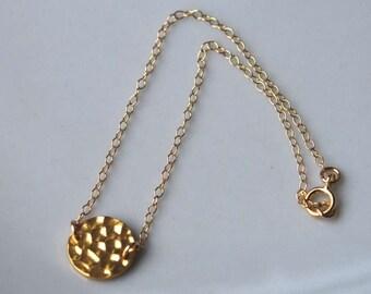 Gold Filled Hammered Disc Bracelet, Gold Filled Bracelet, Hammered Disc Bracelet, Everyday Simple Bracelet