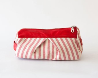 Accessory bag striped red cotton and leather, makeup bag cosmetic case bridemaids gift  pouch - Estia Bag