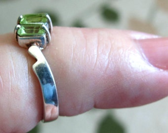 Size 8 Sterling Silver and Double Marquis Cut Small Peridot Vintage Ring