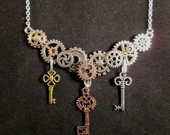 Gears and Keys Necklace