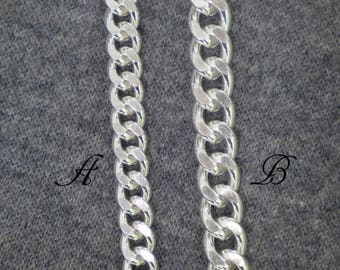 9mm,11mm,Solid,925 Sterling Silver,Cuban Curb Chain,Miami Chain,Thick and Heavy Chain