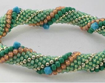 Minty Fresh Bead Crochet Bracelet Pattern - Instructions for bracelet and Hints doc included