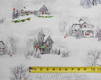 Home for the Holidays White Christmas Winter Homes BY YARDS QT Cotton Fabric