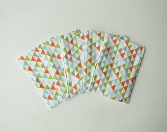 """Lot de 5 lingettes lavables """"triangle vert""""en coton éponge de bambou écologique renouvelable zéro déchet toilette de bébé"""